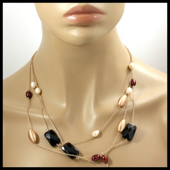 Genuine Smokey Quartz & Pearl Rose Gold over Sterling Silver Three Strand Necklace