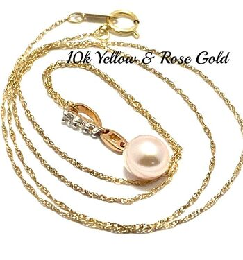 Solid 10k Rose & Yellow Gold, Genuine Cream Pearl & White Topaz Necklace Designed by Enzo