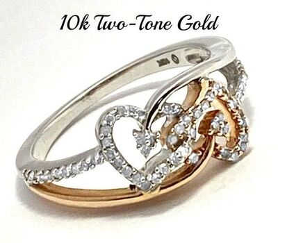 Solid 10k Two-Tone Gold, 0.20ctw Genuine Diamond Ring Size 7