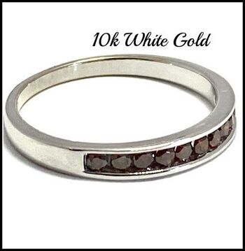 Solid 10k White Gold, 0.20ctw Genuine Cognac Diamond Ring Size 7