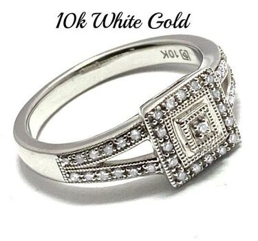 Solid 10k White Gold, 0.20ctw Genuine Diamond Ring Size 6.5