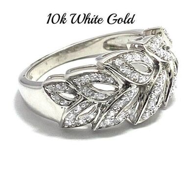 Solid 10k White Gold, 0.35ctw White Sapphire Ring Size 7