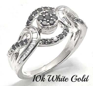 Solid 10k White Gold, 0.40ctw Genuine White & Black Diamond Ring Size 7