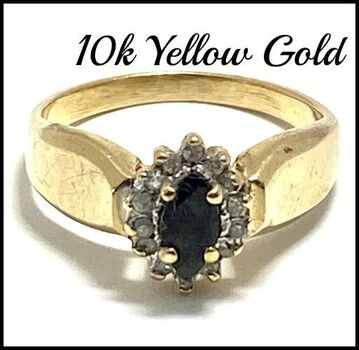 Solid 10k Yellow Gold, 0.09ctw Genuine Diamond & 0.30ctw Sapphire Ring Size 5