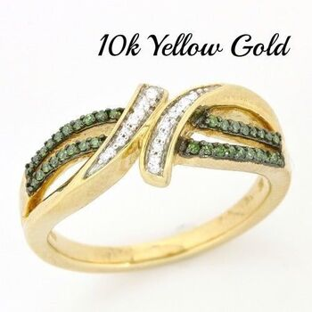 Solid 10k Yellow Gold, 0.25ctw Genuine Green & White Diamonds Ring sz 6 3/4