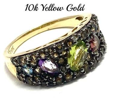 Solid 10k Yellow Gold, 2.25ctw Genuine Multi-Color Stone Ring Size 7