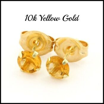 Solid 10k Yellow Gold, 4mm Citrine Stud Earrings
