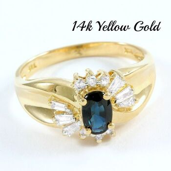 Solid 14k Yellow Gold, 0.35ctw Genuine Diamond & 0.75ctw Sapphire Ring Size 6.5