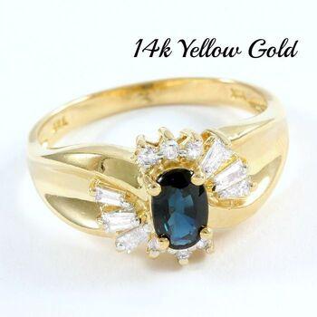 Solid 14k Yellow Gold, 0.35ctw Genuine Diamond & 0.75ctw Sapphire Ring Size 6.5