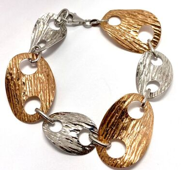 Two-Tone Oval Links Hammered Bracelet with 18k Rose & White Gold over Sterling Silver