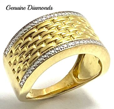 0.01ctw Genuine Diamond .925 Sterling Silver with Yellow Gold Overlay Ring Size 6.5