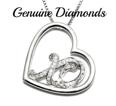 0.10ctw Genuine Diamond Solid .925 Sterling Silver Necklace