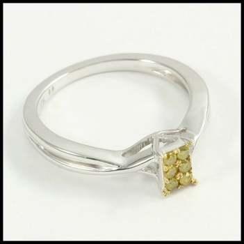 0.15ctw Genuine Yellow Diamond 10k White Gold Ring Size 7