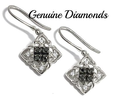 0.16ctw Genuine Black & White Diamond Solid .925 Sterling Silver Earrings