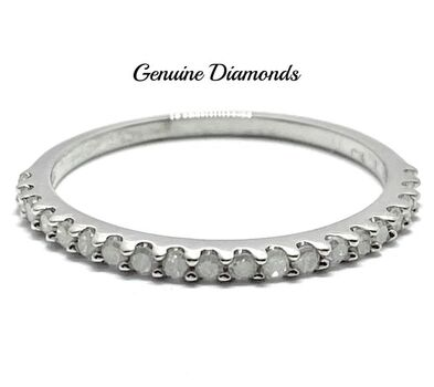 0.20ctw Genuine Diamond .925 Sterling Silver Ring Size 6