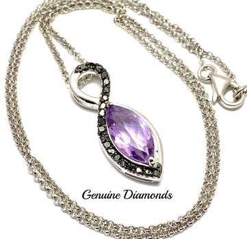 0.25ctw Genuine Black Diamond & 4.50ct Genuine Amethyst Necklace