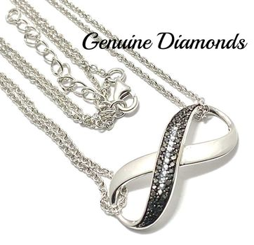0.25ctw Genuine Black & White Diamond  Solid .925 Sterling Silver Necklace