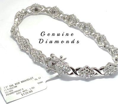 "0.25ctw Genuine Diamond Bracelet 7.5"" Long"