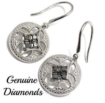 0.35ctw Genuine Black & White Diamond Solid .925 Sterling Silver Earrings