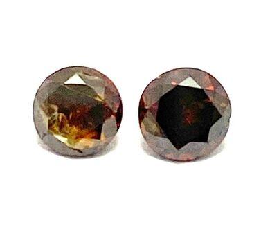 0.40ct 2 Matching Loose Cognac Genuine Diamonds