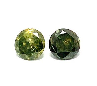 0.40ct 2 Matching Loose Green Diamonds