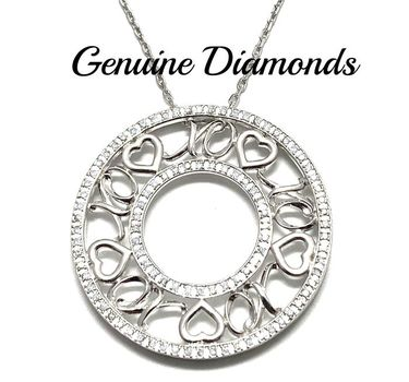 0.45ctw Genuine Diamond Solid .925 Sterling Silver Necklace