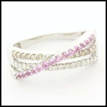 0.50ctw Genuine Diamond & 0.26ctw Genuine Pink Sapphire Solid 14k White Gold Ring sz 7
