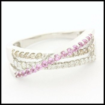 0.50ctw Genuine Diamond & 0.26ctw Genuine Pink Sapphire Solid 14k White Gold Ring sz 7