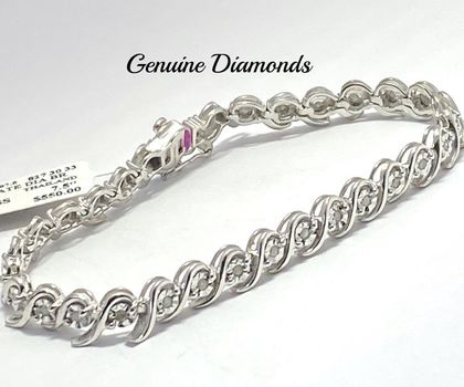 "0.50ctw Genuine Diamond Bracelet 7.5"" Long"