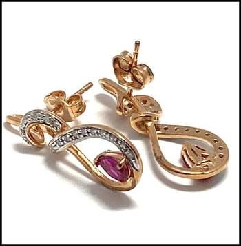 0.71ctw Genuine Diamond & Ruby, .925 Sterling Silver Earrings Authentic Lorenzo