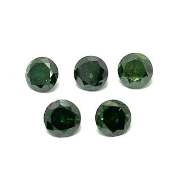 0.90ct 5 Matching Loose Green Diamonds