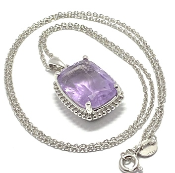 10.61ctw Genuine Amethyst, .925 Sterling Silver Necklace Authentic Lorenzo