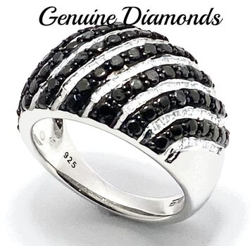 1.0ctw Genuine Black & White Diamond Solid .925 Sterling Silver Ring Size 7