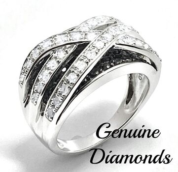 1.0ctw Genuine Black & White Diamond Solid .925 Sterling Silver Ring Size 8