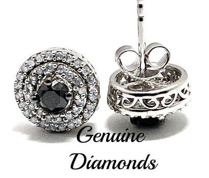 1.0ctw Genuine Black & White Diamond Solid .925 Sterling Silver Stud Earrings