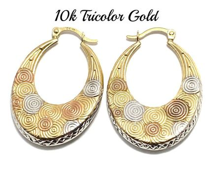 10k Real Tricolor Gold (Not Plated) Earrings