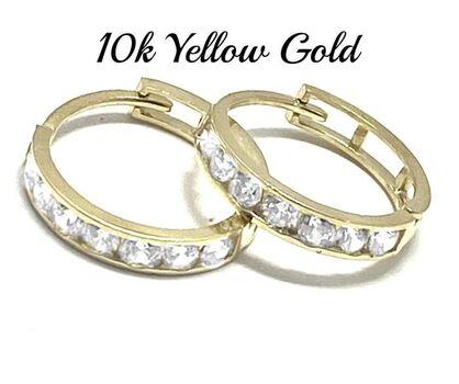10k Real Yellow Gold, Cubic Zirconia Hoop Earrings