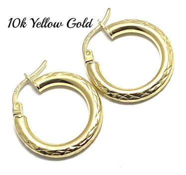 10k Real Yellow Gold Diamond Cut Hoop Earrings