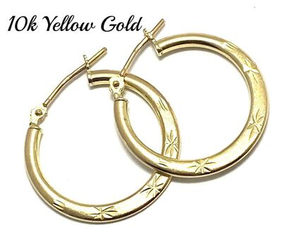 10k Real Yellow Gold (Not Plated) Diamond Cut Hoop Earrings