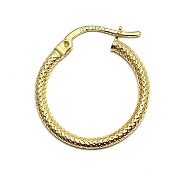 10k Real Yellow Gold (Not Plated) Single Hoop Earring