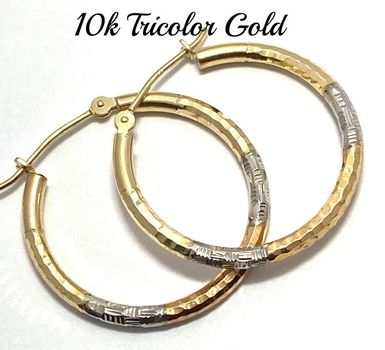 10k Real Yellow, Rose & White Gold (Not Plated) Diamond Cut Hoop Earrings