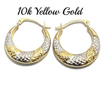 10k Real Yellow & White Gold (Not Plated) Diamond Cut Hoop Earrings