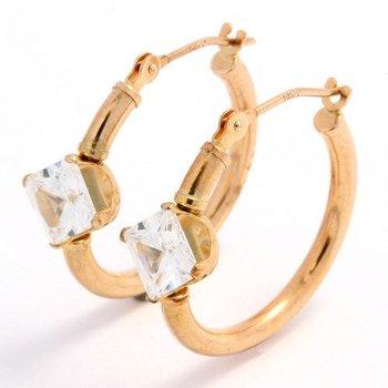 10k Rose Gold, 2.00ctw Genuine White Topaz Hoop Earrings