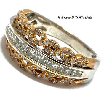 10k Rose & White Gold 0.75ct Natural Diamond Ring Size 7