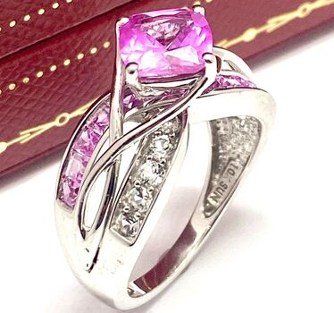 10k Solid White Gold 3.30ctw Genuine Pink & White Topaz Ring Size 7