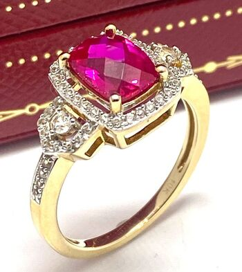 10k Solid Yellow Gold 1.70ctw Ruby & White Sapphire Ring Size 7