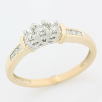 10k Solid Yellow Gold Genuine Diamond Ring Size 7.5
