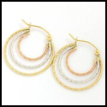 10k Tri-Color Gold 2.0 Grams Hoop Earrings