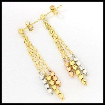 10k Tri-Color Gold Dangle Earrings
