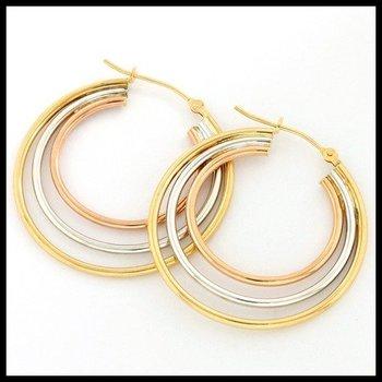 10k Tri-Color Gold Hoop Earrings